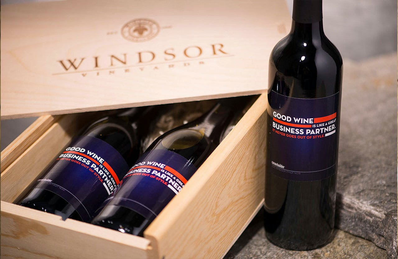 Custom Wine Labels in a Windsor Vineyards Wooden Box
