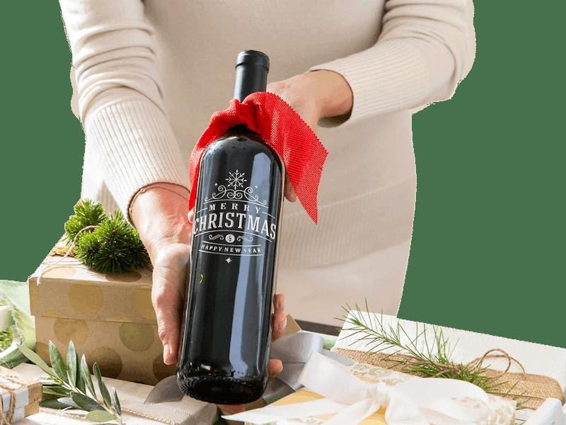 Etched Bottle of Wine - D Dean