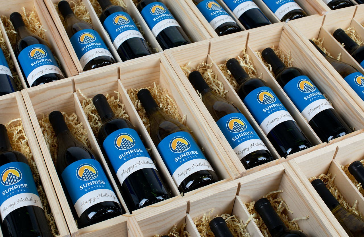Variety of Personalized Wine Labels in Windsor Vineyards Wooden Box